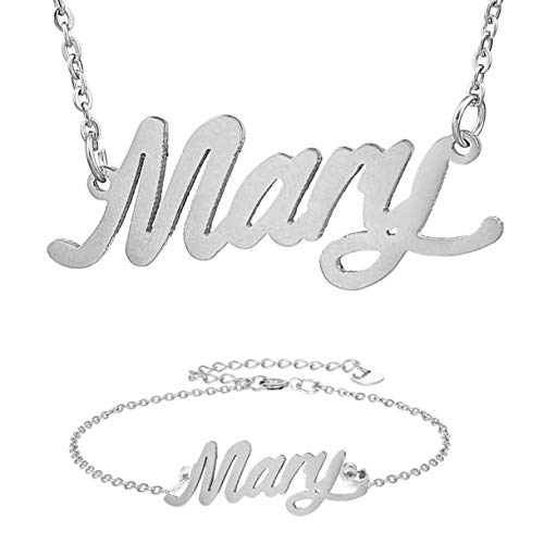 HUAN XUN Stainless Steel Mary Name Necklace&Bracelet Initial Jewery Gifts Set in Silver (Celebrity Inspired Necklace)