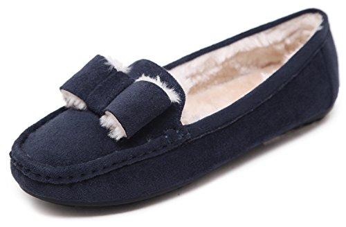 DolphinBanana DolphinGirl Womens Plush Flat Shoes Fall Winter Wear Navy Blue