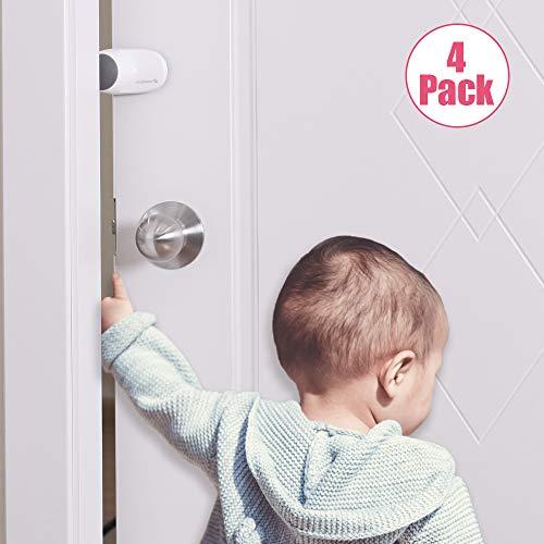 EUDEMON (4 Pack,Grey) Adjustable Door Guard Door Stop, Finger Pinch Guard,Revolving Door Stopper for Child Proofing, Pet Door Stopper,Easy to Install and Use 3M VHB Adhesive, no Tools Need