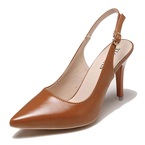 Orangeskycn Women High Heel Shoes Summer Ladies Leather Pointed Toe Buckle Strap Hollow Sandals Roman Office Single Shoes Brown