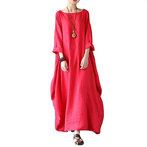 Celmia Women's 3/4 Sleeve Round Neck Solid Loose Long Maxi Dress Cotton Gown with Side Pockets Red 4XL - Red Kaftan