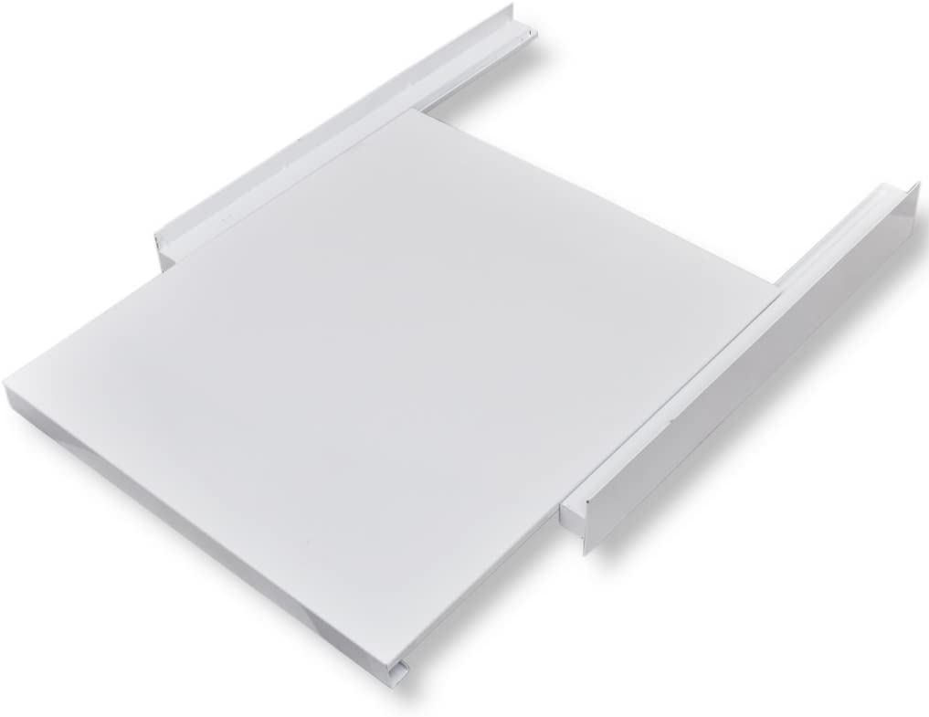 Festnight Kit de Apilado para Lavadora con Estante Corredizo - Color de Blanco Material de Acero, 60x60x8 cm