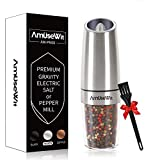 Gravity Electric Pepper Grinder or Salt Grinder Mill - Battery Operated Automatic Pepper Mill with White Light, One Handed Operation, Adjustable Coarseness, Stainless Steel by AmuseWit