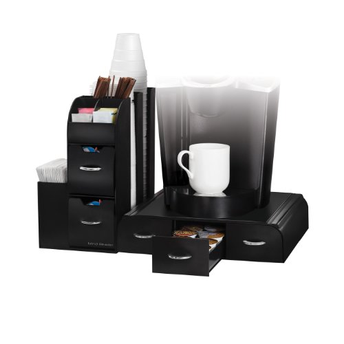 "Mind Reader CMB02-BLK  ""Combine"" 2-Piece Single Serve Coffee Pod Drawer and Condiment Organizer Station, Black"