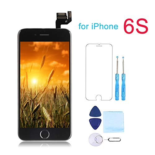 for iPhone 6S Screen Replacement Black - Giorefix 3D LCD Display Touch Screen Digitizer with Home Button Proximity Sensor Ear Speaker Front Camera Full Assembly Kit Screen Protector and Repair Tools ()