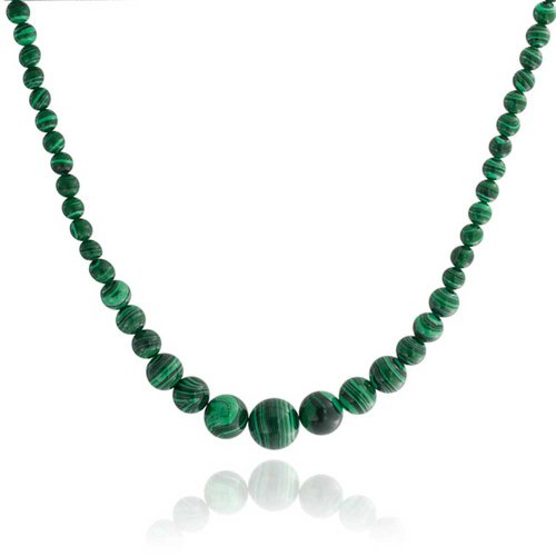 Bling Jewelry Green Stabilized Turquoise Graduated Bead Strand Necklace for Women Silver Plated Clasp 16 Inches