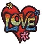 """[Single Count] Custom and Unique (3"""" x 3 1/8"""" Inch) Psychedelic """"Love"""" Letters w/ Heart & Hippie 70's design Iron On Embroidered Applique Patch {Orange, Green, Purple, Pink, Blue & Yellow Colored}"""