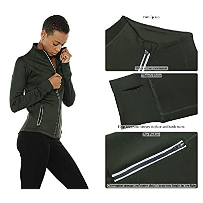 icyzone Women's Running Shirt Full Zip Workout Track Jacket with Thumb Holes at Women's Clothing store