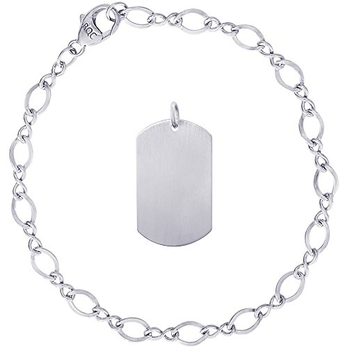 Rembrandt Charms Sterling Silver Dog Tag Satin Finish Charm on a Figure Eight Link Bracelet, 7