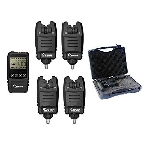 SZMWL 4 Wireless Bite Alarms + 1 Receiver, 4+1 Bite Alarm Set+Receiver with Display Screen Black