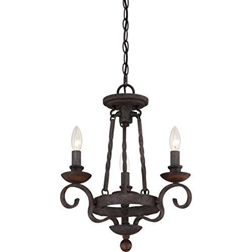 Cheap Quoizel NBE5303RK Noble 3-Light Chandelier, Rustic Black