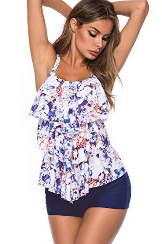 LAZOSAL Womens Ruffle Layered Two Piece Swimsuits Printed Tummy Control Tankini with - Tankini Layered