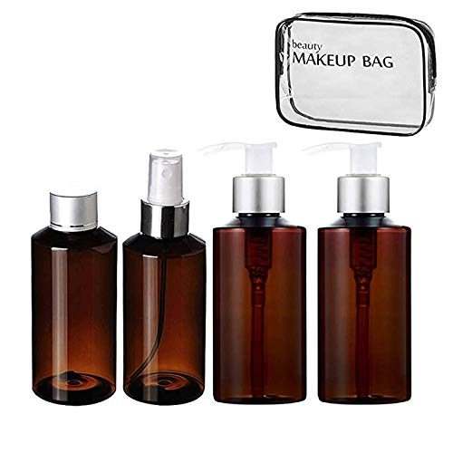 (BRD Convenience Kits International 5PCS Assembled Toiletry Travel Kit, in Reusable Toiletry Zippered Bag +4 PCS 100ml brown bottling bottles)