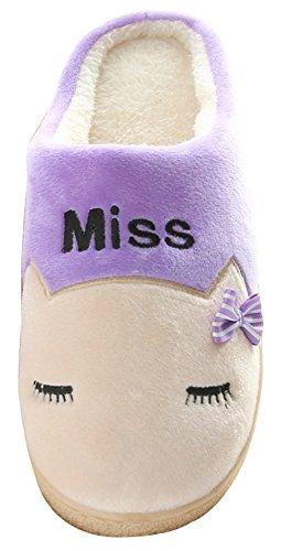2015 New Blubi Womens Casual Cat Head Skid-proof Fleece Warm Slippers Scuff Slippers Purple bFwE23iLEg