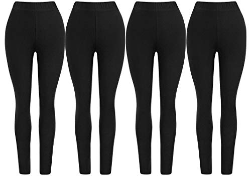 Spandex Butt Lift Ladies Ankle Leggings for Women Buttery Soft Regular and Plus Size Pack of 4 Color Black Size XS-M]()