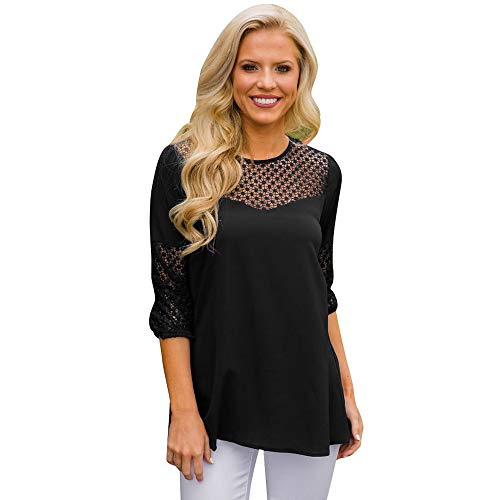 Women Fashion Hollow O-Neck Tunic Pullover Casual Lightweight Jumper Tops Blouse Black