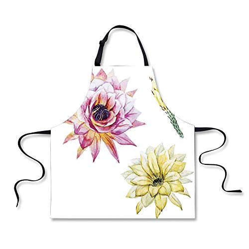Cooking Apron,Cactus Decor,Vector Image with Watercolored Ca