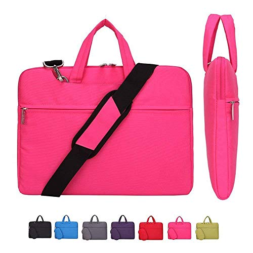 Laptop Case, Laptop Shoulder Bag, CROMI Simplicity Slim Lightweight Briefcase Commuter Bag Business Sleeve Carry Hand Bag Nylon Waterproof Notebook Shoulder Messenger Bag (Rose, 13.3 inch)