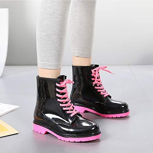 D Stivali Balabala Di Stivaletti Boots Da Donna Antiscivolo Wellington Per Moda Gomma Red Mini Rose Pioggia Equitazione C65Uqwx5A