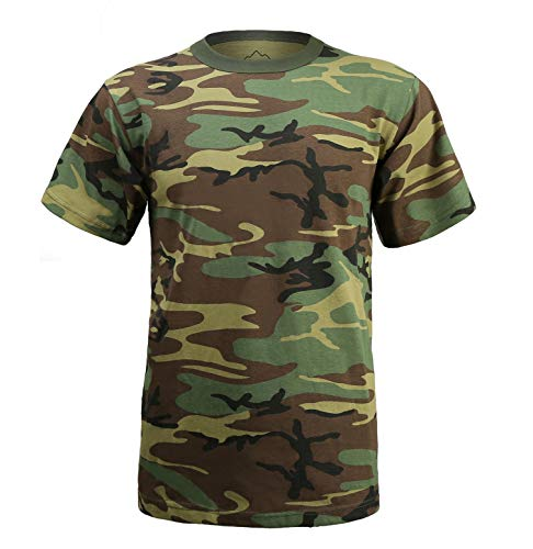 Woodland T-shirt Camo Army Cotton (BACKBONE Mens Army Military Style Training Outdoor Boot Camp Woodland Camo Short Sleeve Tee T-Shirt)
