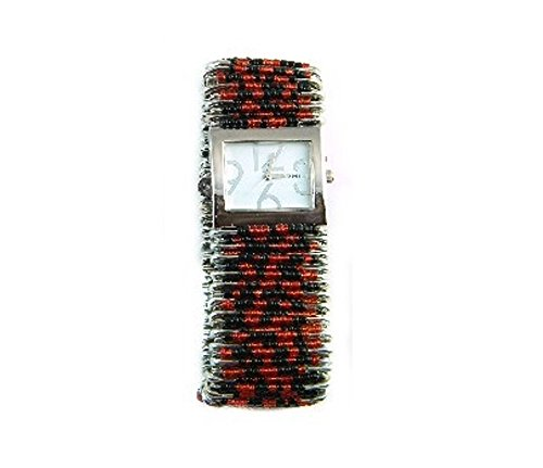 Safety Pin Beaded Watch - PlanetZia Beautiful Black and Orange Safety Pin Watch with Glass Seed Beads HM-BOSPOW