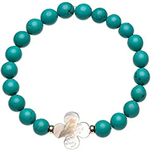 Gemme Couture Turquoise Mother of Pearl Flower Bracelet For Women