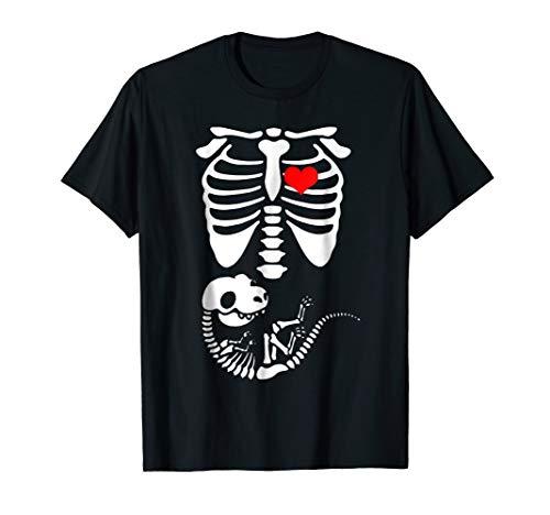Funny Halloween Dinosaur Skeleton Pregnancy T Shirt -