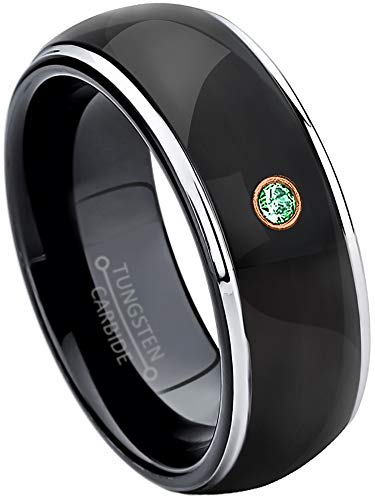 Jewelry Avalanche 0.07ct Emerald Tungsten Ring - May Birthstone Ring - 8MM Comfort Fit Polished Black Ion Dome Tungsten Carbide Wedding Band -10