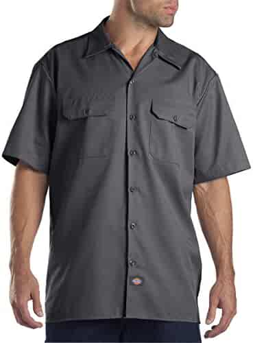 Dickies Men's Short-Sleeve Work Shirt (2 Pack - Large, Charcoal)