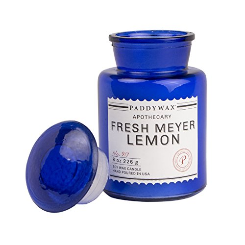 Paddywax Blue Apothecary Collection Scented Soy Wax Jar Candle, 8-Ounce, Fresh Meyer Lemon -