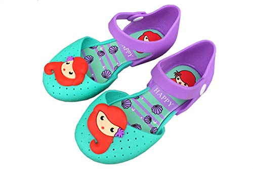 Ortarco Toddler Girl Cute Mermaid Shoes Jelly Mary Jane Princess Flat Sandal for Baby Kids Purple
