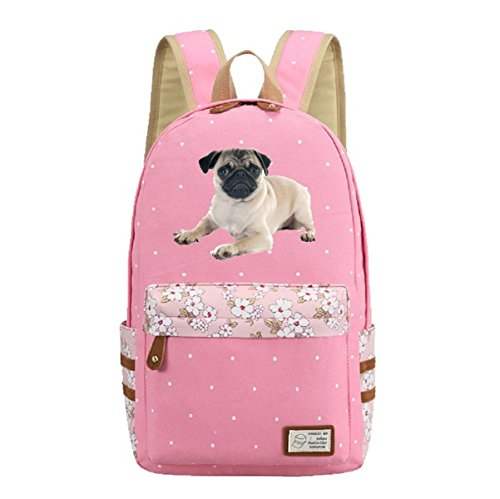 AUGYUESS Cute Pug Dog Animal Vintage Canvas Casual School Bag Daypack Bookbag Laptop Bag Backpack (Pink) For Sale