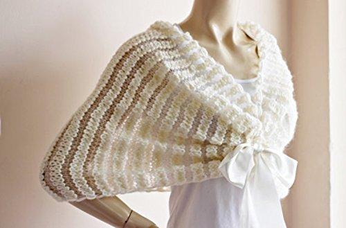01c06c8d1e Amazon.com  Cream Bridal Capelet   Wedding Wrap Shrug Bolero Hand Knit Wool  scarf with Bow  Handmade