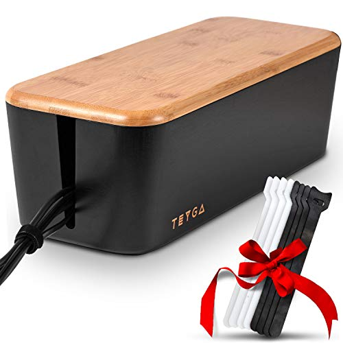 TEYGA Bamboo Cable Management Box - Stylish Cord Organizer Box Hides Power Strip and Keeps Cords Untangled - Surge Protector Cover Keeps Children Safe - Eco Friendly TV Cord Box for Home and Office