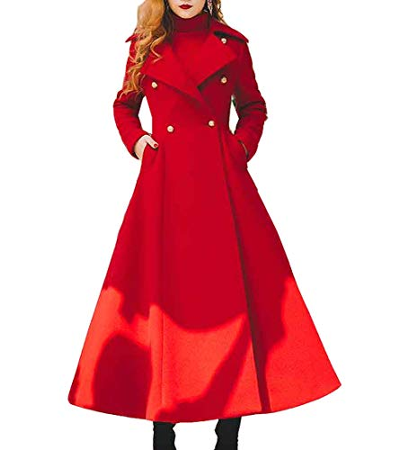 S&S-women Trench Coat Full-Length Double-Breasted Jacket Wool Blend Pea Coat Red