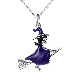 925 Sterling Silver Halloween Charm Jewelry Witch On Flying Broom Pendant Necklace for Women, 18″