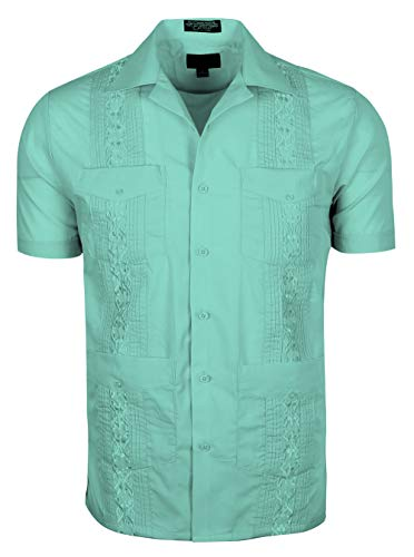 TrueM Men's Short Sleeve Cuban Guayabera Shirts (S, ()
