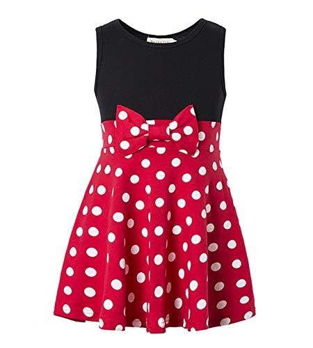 Girls Minnie Princess Dresses Mini Dress for Girls Minnie Costume Baby Girl Dress Mouse Ear Headband Polka Dot Dress (Red, 3-4T) ()