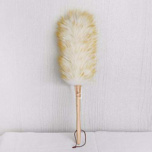 Lambswool Duster with Wood Handle & Hanging Rope, Anti-Static Soft Wool Duster Dust Sweeping Feather Duster for Cleaning Furniture Sofa, Wall Painting(white+yellow) ()