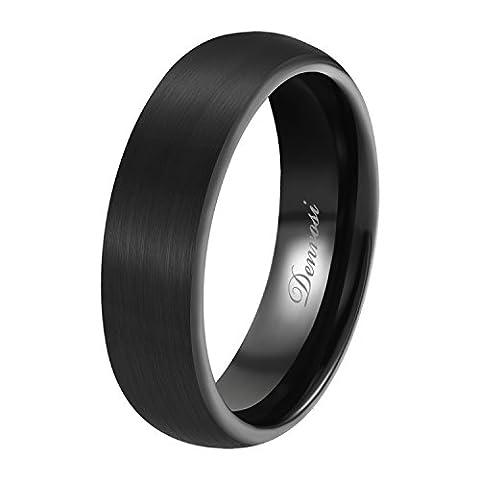 Denvosi Tungsten Carbide Ring for Men 6mm Minimalist Matte Brushed Black Surface High Polished Inner face Wedding Bands Engagement Anniversary Ring Comfort Fit Size 9.5