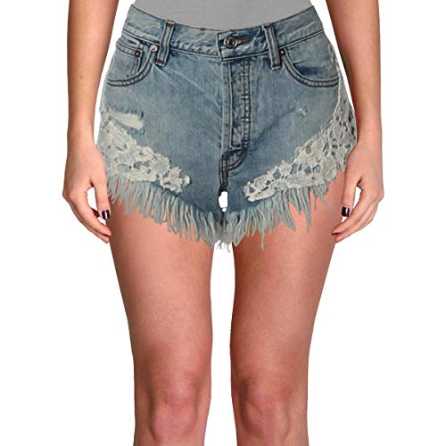 We The Free Womens Good Vibes Light Wash Embroidered Denim Shorts Blue 27 (Free People Shorts)