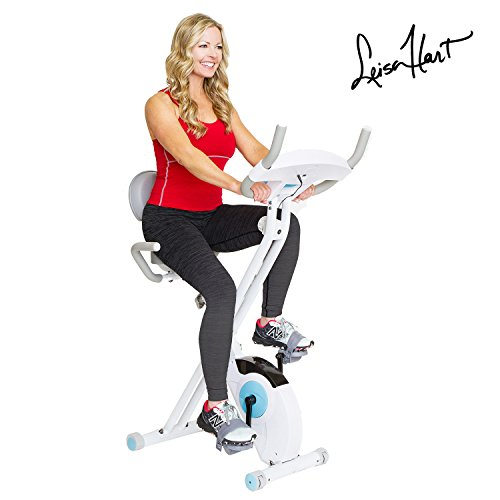 Body Rider Leisa Hart Folding Exercise Bike with Back Rest, Retro Screen Monitor, Heart Pulse Monitor, and Magnetic Adjustable Resistance for Full Body Workout XRB3535
