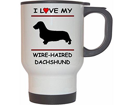 I Love My Wire-haired Dachshund Dog White Stainless Steel Mug