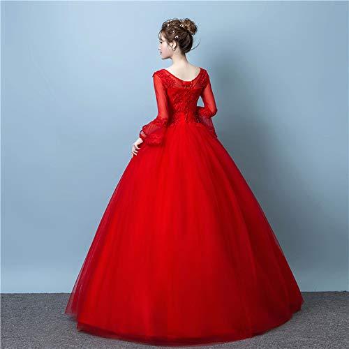 Boda Cuello De rojo WFL Se Novia Mujeres con Embarazadas Princesa Vestido Tamaño Las Redondo De Casaron Rojas Gran del De Qi El Princesa La Simples 8H4Tx8w