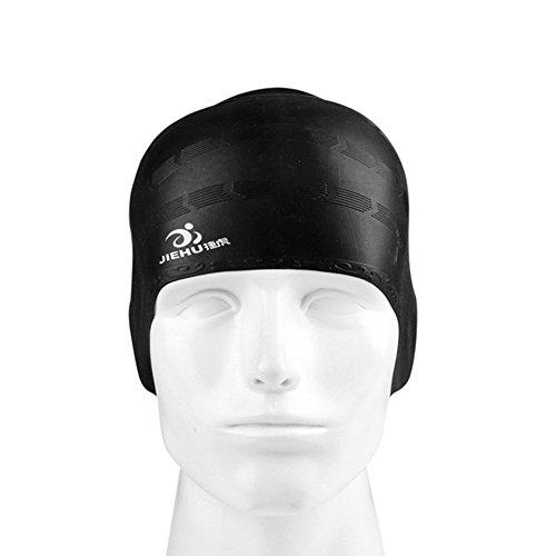 Jeeke Swim Cap, Silicone Swimming Cap for Women Men Long Hair Keeps Your Hair Dry Swimming Pool Hat Plain Protection Ear Swim Caps Adult