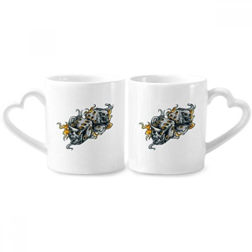 Skull Dice Cool Effects Illustration Couple Mugs Ceramic Lover Cups Heart Handle 12oz Gift