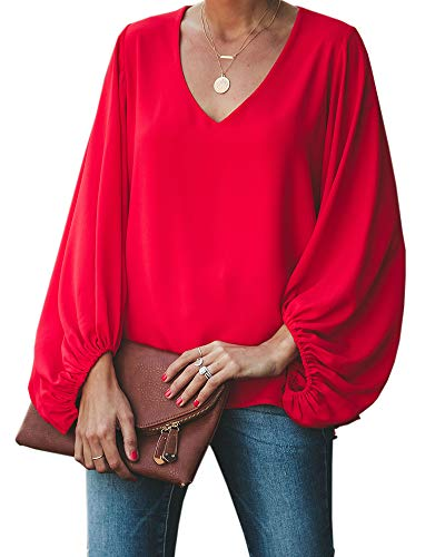 Umeko Womens V Neck Chiffon Blouses Tops Oversized Long Lantern Sleeve Pullover Shirts - Sleeve Blouse Chiffon Long