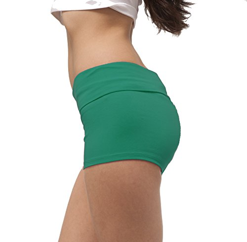 Solid Plain Color Yoga Fold Over Shorts Pants (Large, Emerald Green)