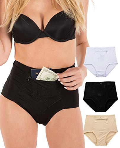 - Barbra's 3 Pack Women's Travel Pocket Girdle Brief Panties S-4XL (S, 3Pack)