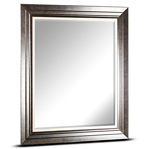 Camden Toilet - American Art Decor Camden Rectangle Framed Wall Bathroom Vanity Mirror - Brown (34.75